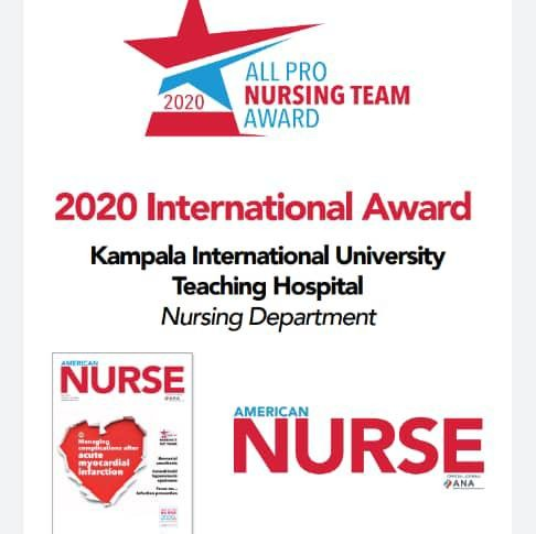KIU Teaching Hospital Receive Certificate for Winning American Nurse Journal International Team Award